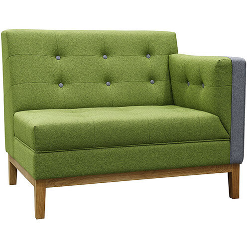 Frovi JIG MODULAR LOW Seating Left End Unit With Natural Oak Frame H830xW1040xD760mm 430mm Seat Height - Fabric Band E
