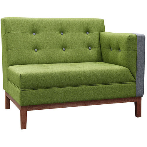 Frovi JIG MODULAR LOW Seating Left End Unit With Stained Walnut Frame H830xW1040xD760mm 430mm Seat Height - Fabric Band G
