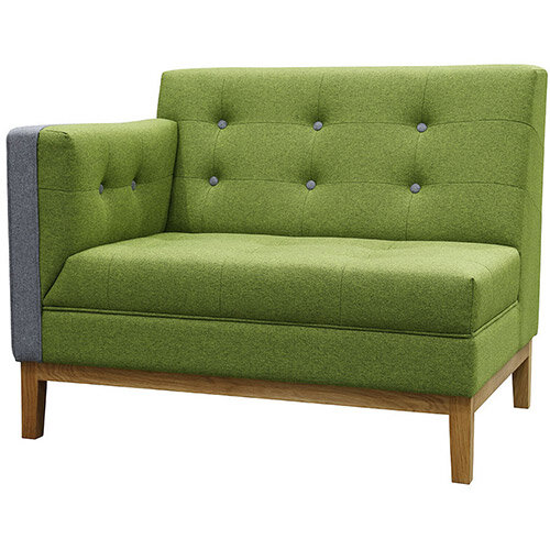 Frovi JIG MODULAR LOW Seating Right End Unit With Natural Oak Frame H830xW1040xD760mm 430mm Seat Height - Fabric Band B