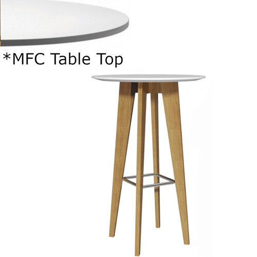 Frovi JIG Round Canteen Poseur Table With Natural Oak Chrome/Painted Ring Frame &MFC Top Dia800xH1100mm - Minimalist Design MFC Melamine Surface
