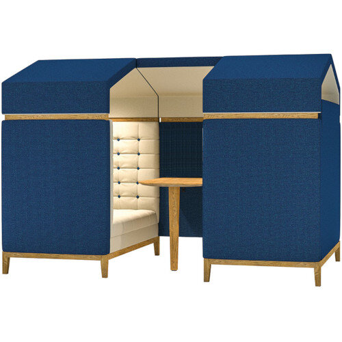 Frovi JIG SHED 4 Seater Meeting Pod With Natural Oak Feet H1870xW2300xD1520mm 430mm Seat Height - Fabric Band B