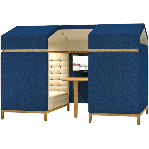 Frovi JIG SHED 4 Seater Meeting Pod With Media With Natural Oak Feet H1870xW2300xD1520mm 430mm Seat Height - Fabric Band B
