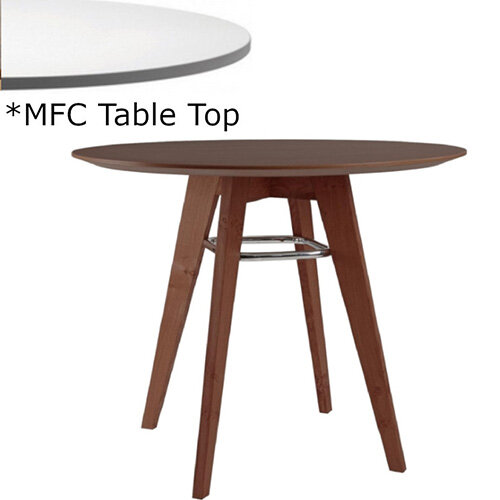 Frovi JIG Round Canteen Table With Stained Walnut Chrome/Painted Ring Frame &MFC Top Dia900xH730mm - Minimalist Design MFC Melamine Surface