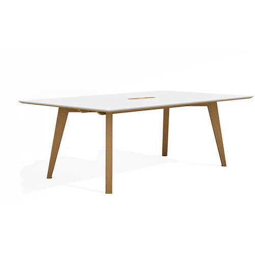 Frovi JIG SOCIAL Bench Table With Power Module &4 Leg Natural Oak Frame W2400xD1200xH740mm