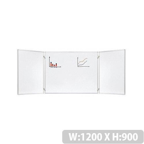Franken Trio Lacquered 3 Part Folding Whiteboard System H900 x W1200(900 + 2 x 600)mm K2103