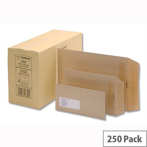 New Guardian 90gsm Envelopes C4 Manilla Pocket Press Seal  Mediumweight Pack 250 Ref K26309