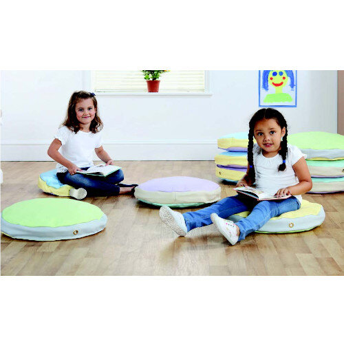 Story Cushions Round - Pastel Colours Set Of 10 - Bean Bags for Kids - Waterproof, Easy to Clean