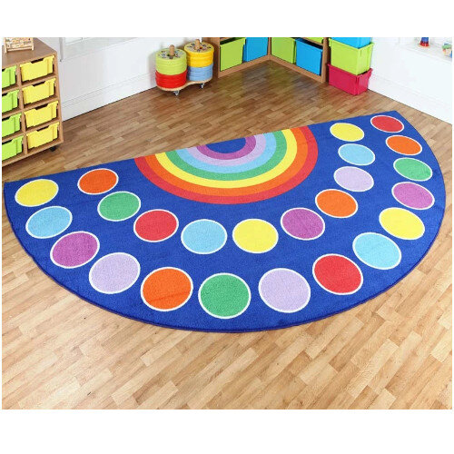 Brightly Coloured Rainbow Semi Circle Placement Carpet 2000 x 4000mm
