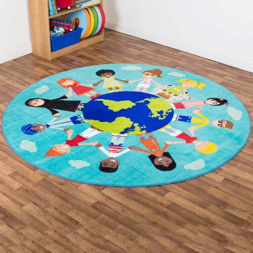 Children Of The World Multi Cultural Carpet - Turquoise