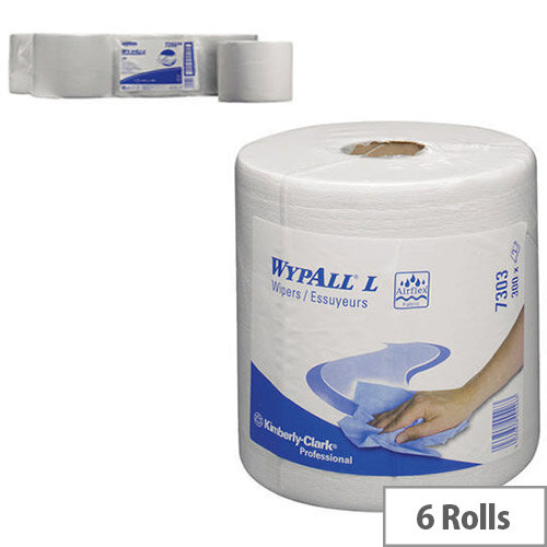Kimberly-Clark Wypall L30 Wipers Centrefeed Tissues Refill Dispenser Paper Cleaning Rolls White (Pack of 6) 7303