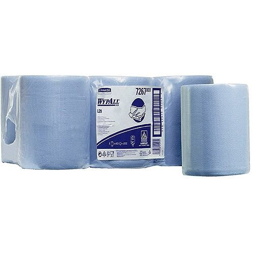 Kimberly-Clark Wypall L20 Blue Wipers Tissues Refill Paper Rolls Centrefeed Rolls (Pack of 6) 7267