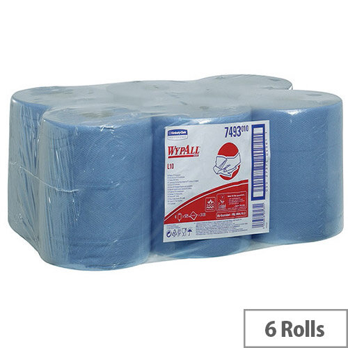 Kimberly-Clark Wypall L10 Wipers Tissues Refill Paper Rolls Rolls 525 Sheets per Roll Centrefeed Blue Rolls (Pack of 6) 7493
