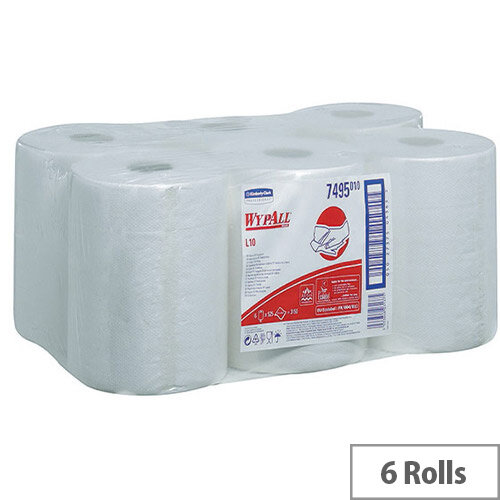 Kimberly-Clark Wypall L10 Wipers White Centrefeed Tissues Refill Paper Rolls 525 Sheets per Roll (Pack of 6) 7495