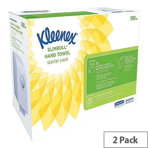 Kleenex Slimroll Starter Pack Paper Hand Towel Rolls with Dispenser (2 Rolls) 7992