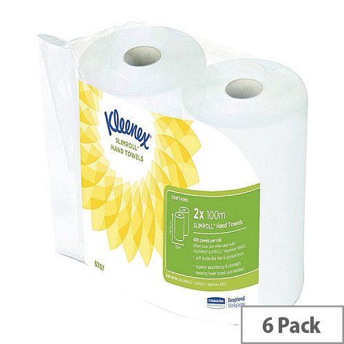 Kleenex Paper Hand Towels in Rolls L100m x W195mm White (6 Rolls) 6767