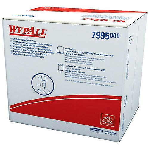 Kimberly-Clark Wypall Wiper Tissues Refill Dispenser Paper Cleaning Roll Starter Pack (Pack of 1) 7995