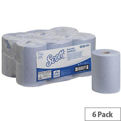Scott Essential Slimroll 1 Ply Blue Paper Hand Towel Rolls 190m Long (6 Rolls) 6696