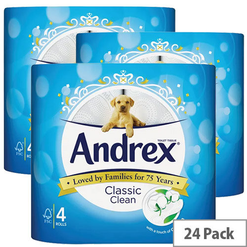 Andrex Classic White Toilet Paper Tissue Roll Pack 6x4 (24 Rolls Toilet Rolls)