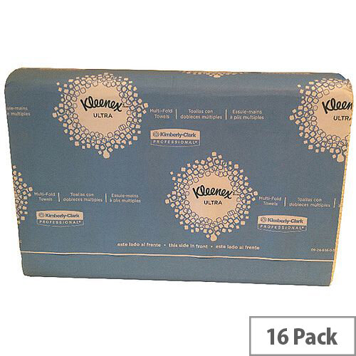 Kleenex Ultra Multifold Paper Hand Towels 1 Ply 4375 150 Towels Per Sleeve 16 Sleeves (2400 Sheets)