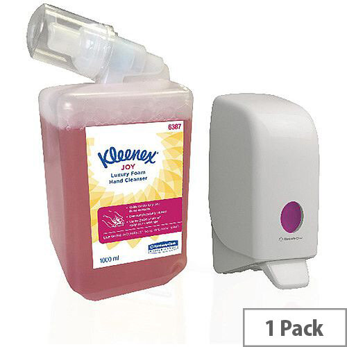 Kleenex Joy Luxury Foam Hand Cleanser 1 Litre Sanitiser Dispensers Refill Cartridges + FOC Aquarius Dispenser KC832088