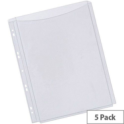 Q-Connect Full Cover Expanding Punched Pocket A4 Pack of 5 KF00138