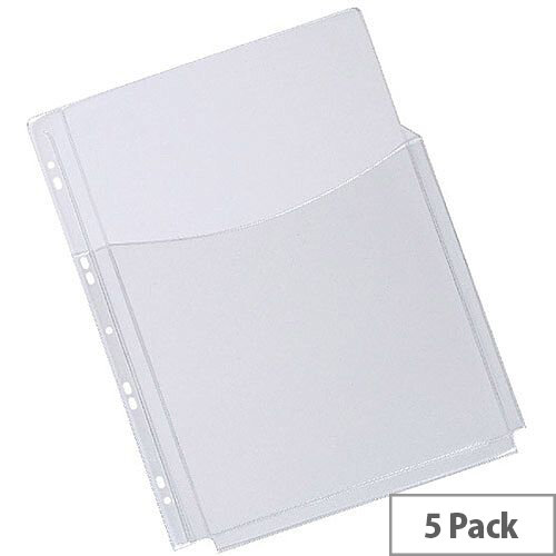 Q-Connect 3/4 Cover Expanding Punched Pocket A4 180 Micron Pack of 5 KF00139