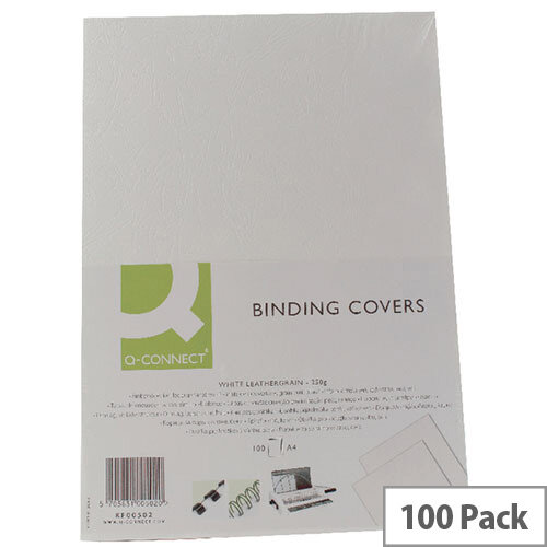 Q-Connect Binding Comb Covers Leathergrain Pack of 100 White A4