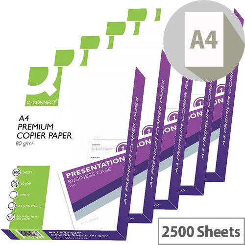 Q-Connect Premium Copier And Laser Paper A4 80gsm White 2500 Sheets