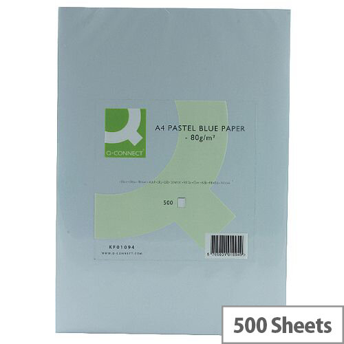 Q-Connect Blue A4 Paper Coloured Copier Card 80gsm Ream 500 Sheets