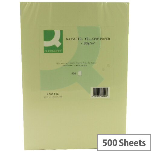 Q-Connect Yellow A4 Paper 80gsm Ream of 500 Sheets