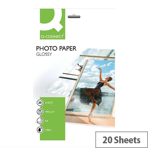 Q-Connect A4 Photo Gloss Paper 180gsm (Pack of 20)