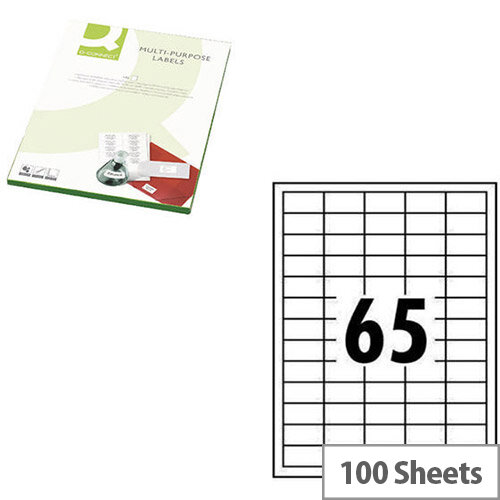Q-Connect White Multipurpose Label 38.1 x 21.2mm 65 Per Sheet Pack of 6500