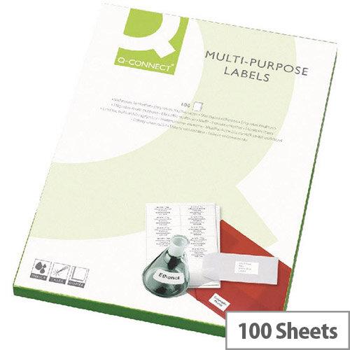 Q-Connect Copier Labels 105x42mm 14 per A4 Sheet Butt Cut Pack of 100 White