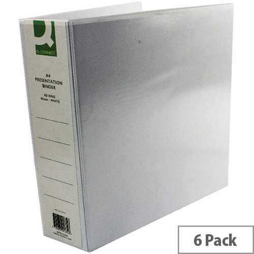 Q-Connect Presentation 4D-Ring Binder 65mm A4 White Pack 6