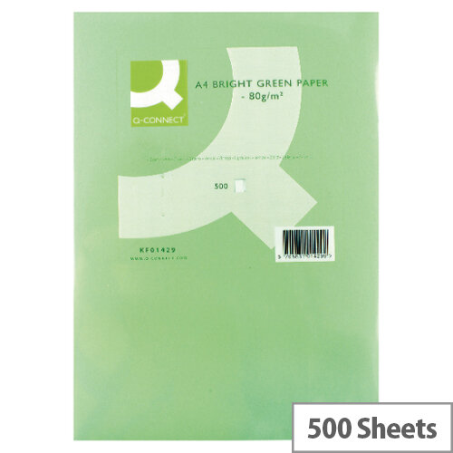 Q-Connect Bright Green A4 Paper Coloured Copier Card 80gsm Ream of 500 sheets