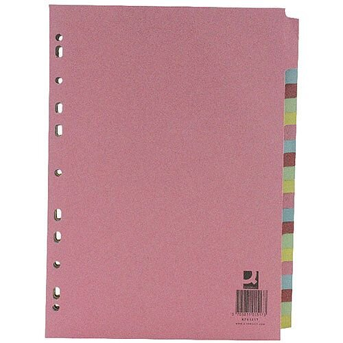 Q-Connect A4 Subject Divider Multi-Punched 20 Part Pack of 20 KF01517Q