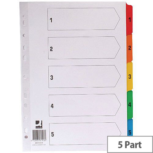 Index A4 Multi-Punched 1-5 Reinforced Multi-Colour Numbered Tabs Q-Connect KF01518