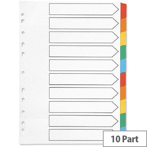 Index A4 Multi-Punched 10-Part Reinforced Multi-Colour Blank Tabs Q-Connect KF01526