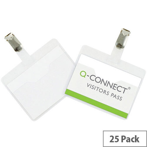 Q-Connect Visitor Badges 25 Pack – 60 x 90mm, Sturdy PVC Badges, Rotating, White Cards Included, Suitable For Business Events &Transparent (KF01560)