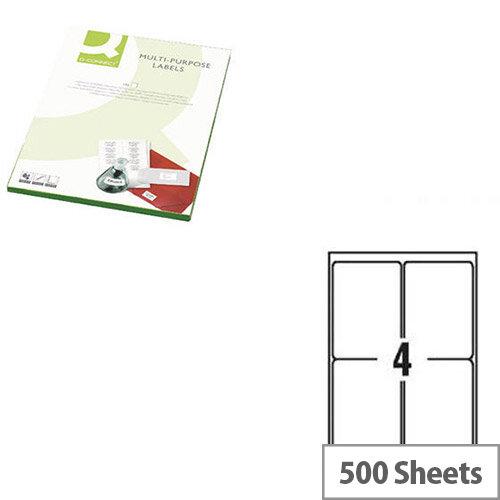 Q-Connect Copier Labels 105x148mm 4 per A4 Sheet Butt Cut Pack of 500 White