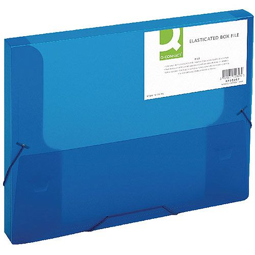 Q-Connect Elasticated Box File Blue 25mm Spine KF02307