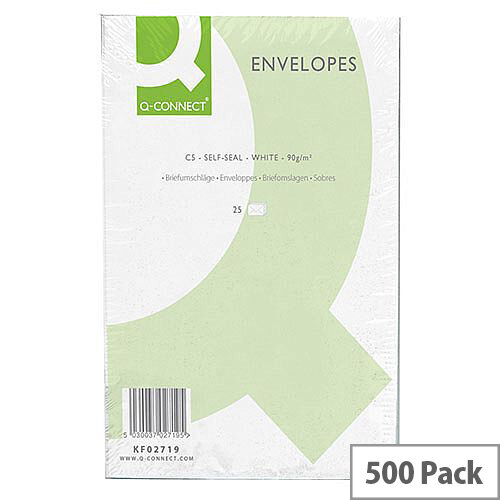 Q-Connect Envelopes C5 90gsm White Self-Seal Pack of 500 KF02719