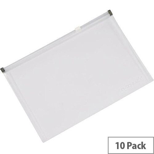 Q-Connect Document Zip Wallet A5 Transparent Pack of 10