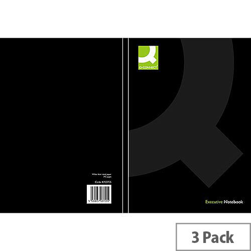 Q-Connect A4 Casebound Book Black Ruled Feint 3 Pack KF03725