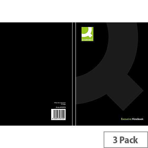 Q-Connect A4 Casebound Book Black Ruled Feint 3 Pack KF03725