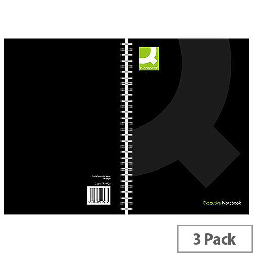 Q-Connect A5 Wirebound Book Black 3 Pack KF03728