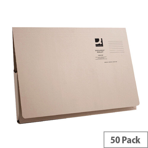 Longflap Document Wallet 300gsm Foolscap Buff Pack of 50 Q-Connect