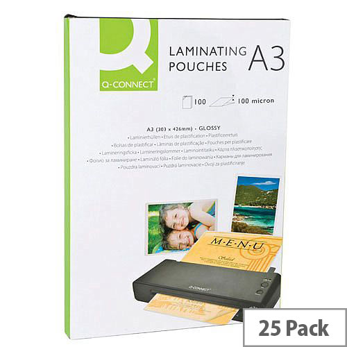 Q-Connect Laminating Pouches Pack Of 25 A3 Sized Pouches. Creates Waterproof &Tear Proof Documents. Professional Results. Ideal For Signage, Posters, Notices, Photos &More.