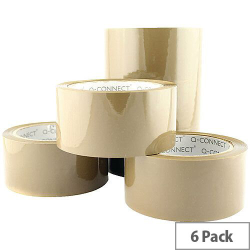 Q-Connect Low Noise Polypropylene Packaging Tape 50mm x 66m Brown (6 Pack)