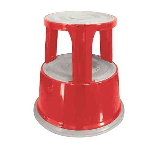 Q-Connect Steel Mobile Kick Step Stool Red